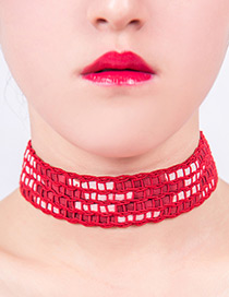 Fashion Red Pure Color Decorated Hand-woven Design Choker