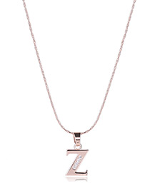 Fashion Gold Color Metal Letterz Shape Pendant Decorated Simple Long Chain Neckalce