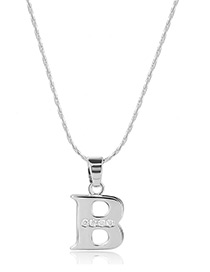 Fashion Silver Color Metal Letterb Shape Pendant Decorated Simple Long Chain Neckalce