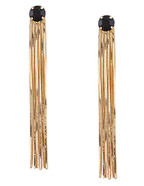 Trendy Gold Color Pure Color Decorated Long Tassel Design Earrings