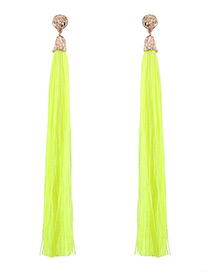 Trendy Yellow Pure Color Decorated Long Tassel Design Earrings