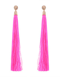 Trendy Plum Red Pure Color Decorated Long Tassel Design Earrings