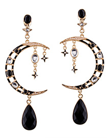 Trendy Black Moon Decorated Hollow Out Color Matching Earrings