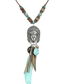 Fashion Light Blue Feather&face Pendant Decorated Simple Necklace