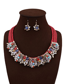 Fashion Red Flower Decorated Color Matching Simple Jewelry Sets