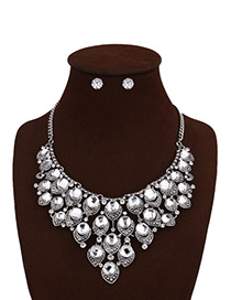 Fashion White Round Shape Diamond Decorated Pure Color Jewelry Sets