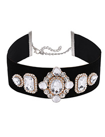 Fashion Black Geometric Shape Diamond Decorated Simple Width Choker