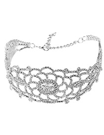 Fashion Silver Color Flower Decorated Hollow Out Pure Color Choker