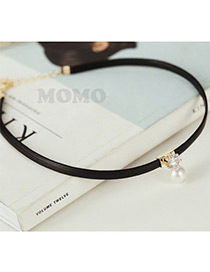 Fashion Gold Color Pearl&diamond Decorated Simple Short Choker