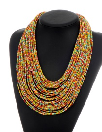 Fashion Yellow+red Beads Decorated Color Matching Multi-layer Necklace