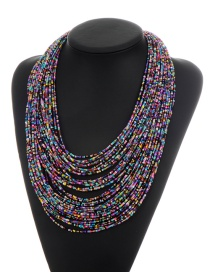 Fashion Black+purple Beads Decorated Color Matching Multi-layer Necklace