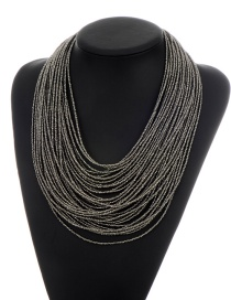 Fashion Black Beads Decorated Pure Color Multi-layer Necklace
