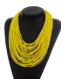Fashion Yellow Beads Decorated Pure Color Multi-layer Necklace