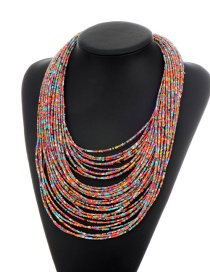 Fashion Multi-color Beads Decorated Color Matching Multi-layer Necklace
