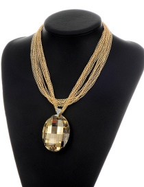Fashion Gold Color Oval Shape Diamond Decorated Multi-layer Simple Necklace