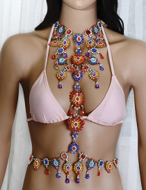Exaggerate Red+blue Whaterdrop Shape Decorated Simple Hollow Out Body Chain