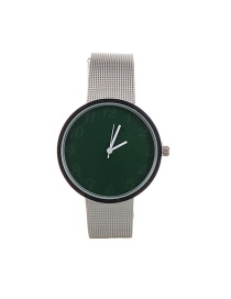 Fashion Green Color Matching Decorated Round Dail Simple Chain Watch