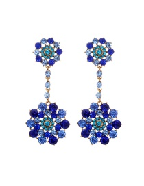 Fashion Sapphire Blue Round Shape Diamond Decorated Flower Design Earrings