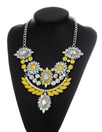 Fashion Multi-color Oval Shape Diamond Decorared Color Matching Necklace