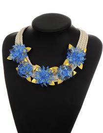 Elegant Blue Flower Decorated Simple Hand-woven Design Necklace