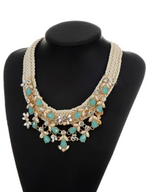 Fashion Multi-color Oval Shape Diamond Decorated Simple Hand-woven Necklaec