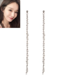 Fashion Silver Color Pearls Decorated Pure Color Long Earrings