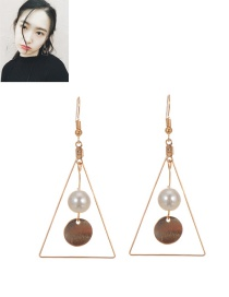 Fashion Milk White Round Ball Pendant Decorated Triangle Shape Earrings