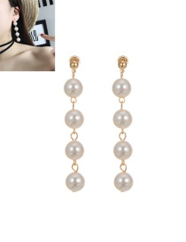 Fashion Gold Color Pearls Decorated Pure Color Tassel Design Long Earrings