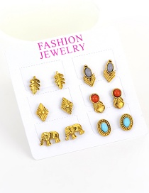 Fashion Gold Color Leaf&elephant Decorated Color Matching Simple Earrings(6pcs)