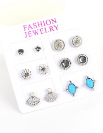 Fashion Silver Color Flowers Decorated Hollow Out Design Earrings(6pcs)