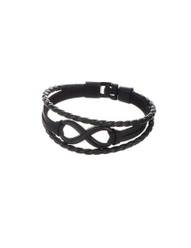 Fashion Black Pure Color Decorated Letter 9 Shape Simple Bracelet