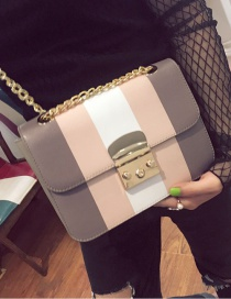 Fashion Light Gray Buckle Decorated Color Matching Simple Shoulder Bag