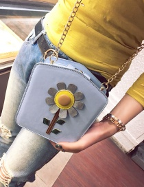 Fashion Blue Sunflower Pattern Decorated Simple Shoulder Bag