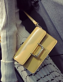 Fashion Yellow Buckle Decorated Pure Color Square Shape Shoulder Bag