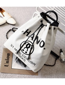Fashion White Letter Pattern Decorated Bucket Shape Shoulder Bag
