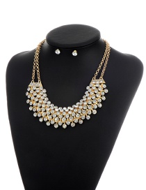 Fashion Gold Color Round Shape Diamond Decorated Simple Double Layer Jewelry Sets