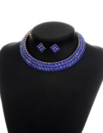 Elegant Blue Square Shape Diamond Decorated Simple Jewelry Sets