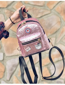 Fashion Pink Badge Shape & Paillette Decorated Simple Backpack