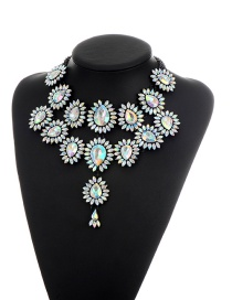Elegant Multi-color Waterdrop Shape Diamond Decorated Simple Double Layer Necklace