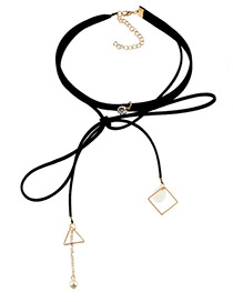 Fashion Black Geometric Shape&pearls Decorated Double Layer Long Necklace