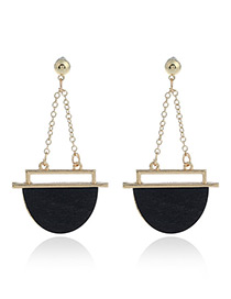 Fashion Black Geometric Shape Pendant Decorated Color Matching Earrings