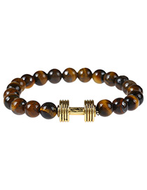 Fashion Brown+gold Color Dumb-bell Decorated Color Matching Simple Bracelet