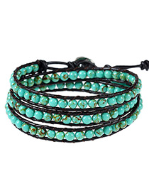 Vintage Green Beads Decorated Color Matching Multi-layer Bracelet