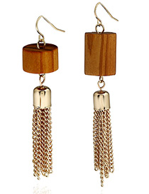 Fashion Coffee Long Tassel Pendant Decorated Geometric Shape Earrings