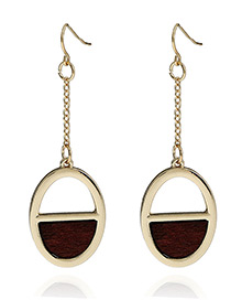 Fashion Gold Color Oval Shape Pendant Decorated Hollow Out Simple Earrings