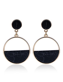Fashion Black Oval Shape Pendant Decorated Hollow Out Simple Earrings