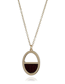 Fashion Coffee Oval Shape Pendant Decorated Hollow Out Simple Necklace