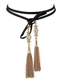 Vintage White Tassel Pendant Decorated Double Layer Simple Necklace