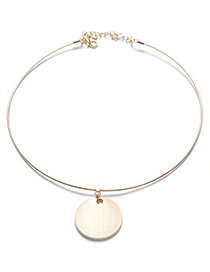 Elegant Gold Color Metal Round Shape Decorated Simple Pure Color Necklace
