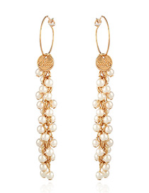 Elegant Gold Color Metal Shape Decorated Simple Long Chain Earrings